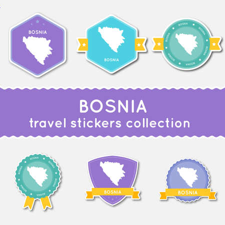 herz: Bosnia and Herzegovina travel stickers collection. Big set of stickers with US state map and name. Flat material style badges vector illustration.