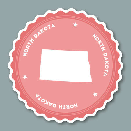 North Dakota sticker flat design. Round flat style badges of trendy colors with the state map and name. US state sticker vector illustration.