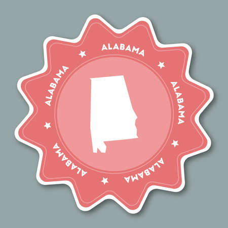 Alabama map sticker in trendy colors.