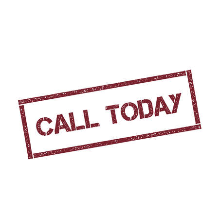 Call today rectangular stamp. Textured red seal with text isolated on white background.