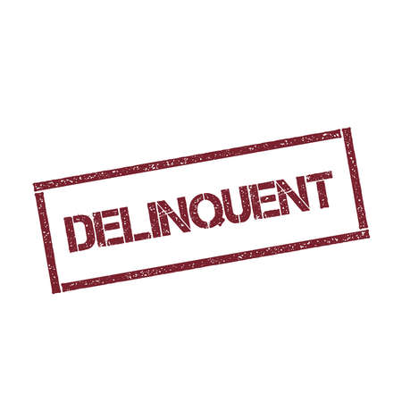 delinquent: Delinquent rectangular stamp. Textured red seal with text isolated on white background, vector illustration.