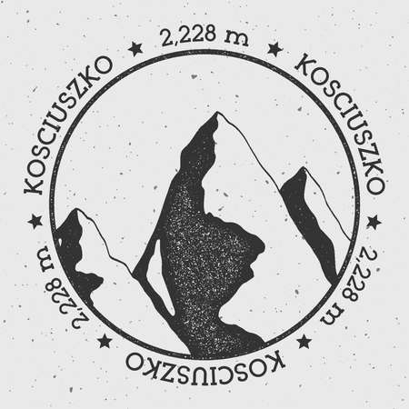 Kosciuszko in Great Dividing Range, Australia outdoor adventure logo. Round stamp vector insignia. Climbing, trekking, hiking, mountaineering and other extreme activities logo template.