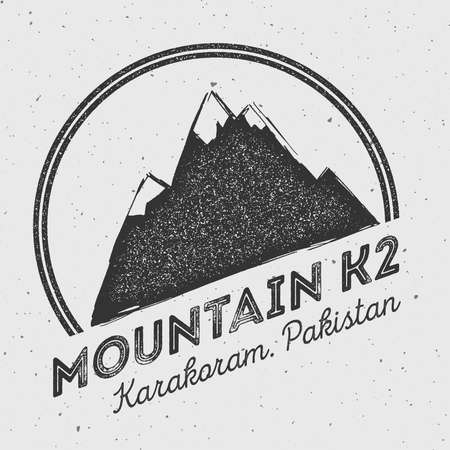 K2 in Karakoram, Pakistan outdoor adventure logo. Round mountain vector insignia. Climbing, trekking, hiking, mountaineering and other extreme activities logo template. Иллюстрация