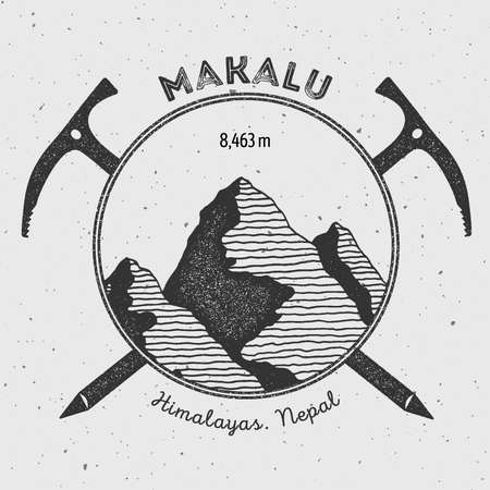 on top of the world: Makalu in Himalayas, Nepal outdoor adventure logo. Climbing mountain vector insignia. Climbing, trekking, hiking, mountaineering and other extreme activities logo template. Illustration