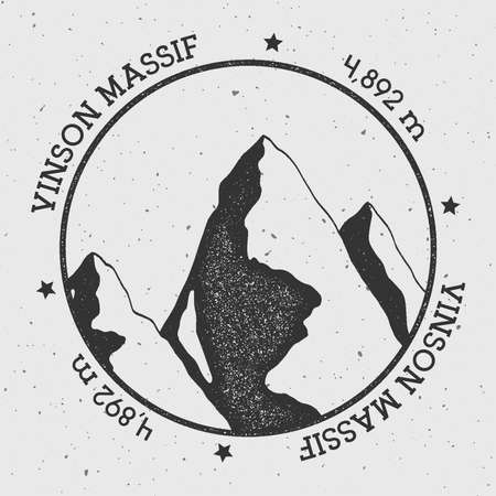 snowy hill: Vinson Massif in Sentinel Range, Antarctica outdoor adventure logo. Round stamp vector insignia. Climbing, trekking, hiking, mountaineering and other extreme activities logo template.