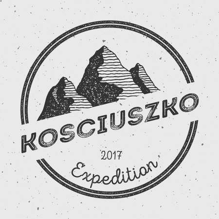 Kosciuszko in Great Dividing Range, Australia outdoor adventure logo. Round expedition vector insignia. Climbing, trekking, hiking, mountaineering and other extreme activities logo template.