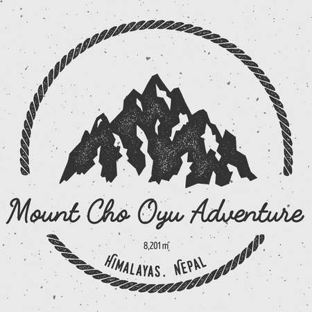 Cho Oyu in Himalayas, Nepal outdoor adventure logo. Round hiking vector insignia. Climbing, trekking, hiking, mountaineering and other extreme activities logo template. Illustration