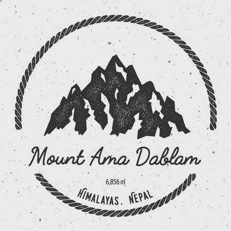Ama Dablam in Himalayas, Nepal outdoor adventure logo. Round hiking vector insignia. Climbing, trekking, hiking, mountaineering and other extreme activities logo template.