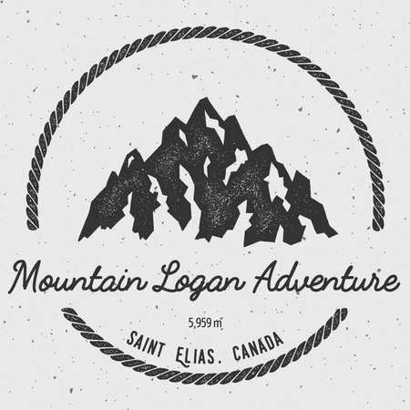 scaling: Logan in Saint Elias, Canada outdoor adventure logo. Round hiking vector insignia. Climbing, trekking, hiking, mountaineering and other extreme activities logo template. Illustration