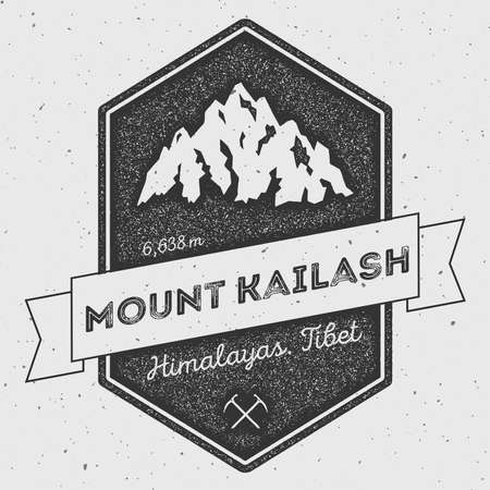 Mount Kailash in Himalayas, Tibet outdoor adventure logo. Pennant expedition vector insignia. Climbing, trekking, hiking, mountaineering and other extreme activities logo template. Illustration