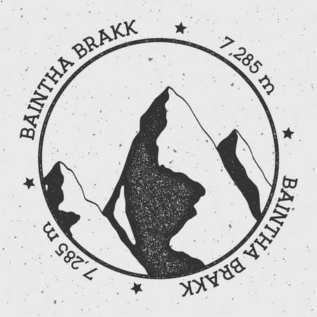 Baintha Brakk in Panmah Muztagh, Pakistan outdoor adventure logo. Round stamp vector insignia. Climbing, trekking, hiking, mountaineering and other extreme activities logo template.