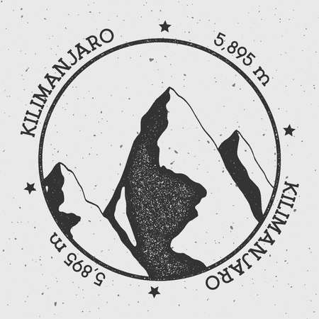 Kilimanjaro in Eastern Rift, Tanzania outdoor adventure logo. Round stamp vector insignia. Climbing, trekking, hiking, mountaineering and other extreme activities logo template.