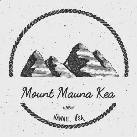 Mauna Kea in Hawaii, USA outdoor adventure logo. Round trekking vector insignia. Climbing, trekking, hiking, mountaineering and other extreme activities logo template. Illustration