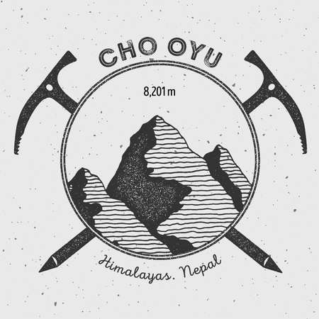 Cho Oyu in Himalayas, Nepal outdoor adventure logo. Climbing mountain vector insignia. Climbing, trekking, hiking, mountaineering and other extreme activities logo template. Illustration