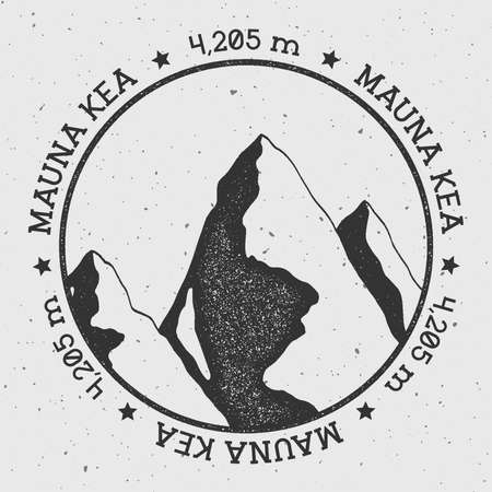 Mauna Kea in Hawaii, USA outdoor adventure logo. Round stamp vector insignia. Climbing, trekking, hiking, mountaineering and other extreme activities logo template.