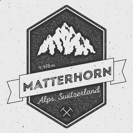 scrambling: Matterhorn in Alps, Italy outdoor adventure logo. Pennant expedition vector insignia. Climbing, trekking, hiking, mountaineering and other extreme activities logo template.
