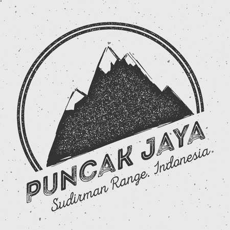 Puncak Jaya in Sudirman Range, Indonesia outdoor adventure logo. Round mountain vector insignia. Climbing, trekking, hiking, mountaineering and other extreme activities logo template.