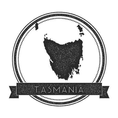 Tasmania map stamp. Retro distressed insignia. Hipster round badge with text banner. Island vector illustration.