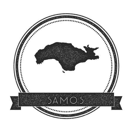 Samos map stamp. Retro distressed insignia. Hipster round badge with text banner. Island vector illustration. Illustration