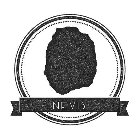 Nevis map stamp. Retro distressed insignia. Hipster round badge with text banner. Island vector illustration.