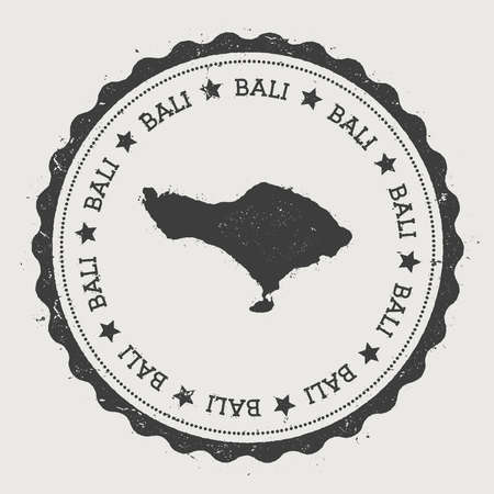 Bali sticker. Hipster round rubber stamp with island map. Vintage passport sign with circular text and stars, vector illustration.