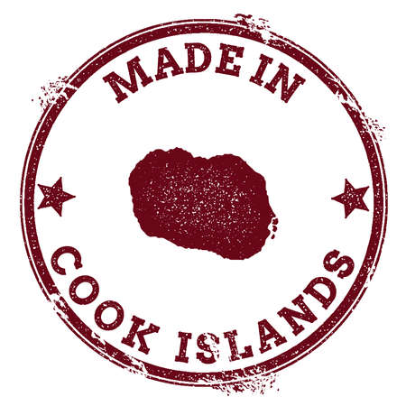 Cook Islands seal. Vintage island map sticker. Grunge rubber stamp with Made in text and map outline, vector illustration.