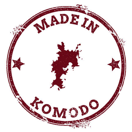 indo: Komodo seal. Vintage island map sticker. Grunge rubber stamp with Made in text and map outline, vector illustration.