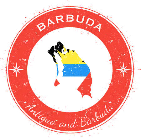 Barbuda circular patriotic badge. Grunge rubber stamp with island flag, map and name written along circle border, vector illustration.