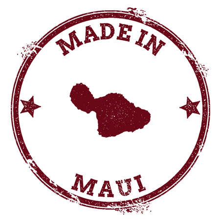 Maui seal. Vintage island map sticker. Grunge rubber stamp with Made in text and map outline, vector illustration. Illustration