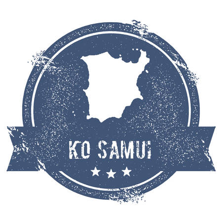samui: Ko Samui logo sign. Travel rubber stamp with the name and map of island, vector illustration. Can be used as insignia, logotype, label, sticker or badge.