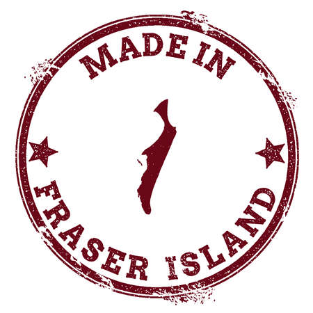 Fraser Island seal. Vintage island map sticker. Grunge rubber stamp with Made in text and map outline, vector illustration. Illustration