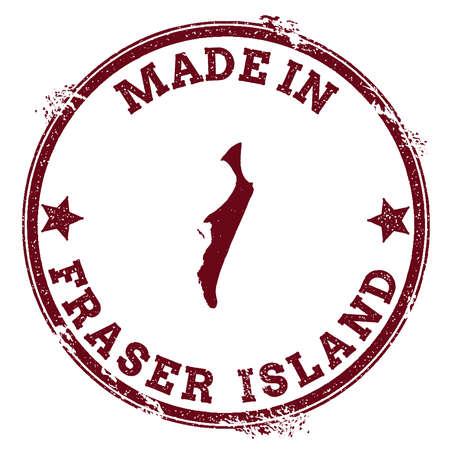 poststempel: Fraser Island-Siegel. Vintage Insel Karte Aufkleber. Grunge Stempel mit Made in Text und Karte Umriss, Vektor-Illustration.