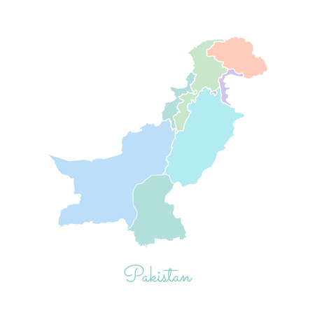 Pakistan region map: colorful with white outline. Detailed map of Pakistan regions. Vector illustration. Illustration