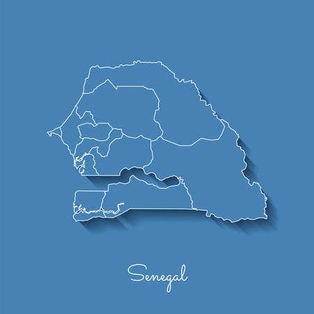 Carte De La Region Du Senegal Bleu Avec Contour Blanc Et Ombre Sur Fond Bleu Carte Detaillee Des Regions Du Senegal Illustration Vectorielle Clip Art Libres De Droits Vecteurs Et Illustration