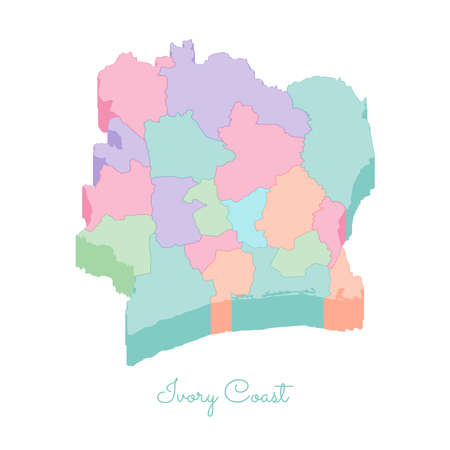 Ivory Coast region map: colorful isometric top view. Detailed map of Ivory Coast regions. Vector illustration.