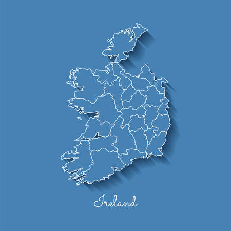Ireland region map: blue with white outline and shadow on blue background. Detailed map of Ireland regions. Vector illustration.