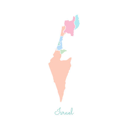 Israel region map: colorful with white outline. Detailed map of Israel regions. Vector illustration.