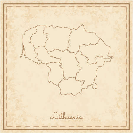 Lithuania region map: stilyzed old pirate parchment imitation. Detailed map of Lithuania regions. Vector illustration. Illustration