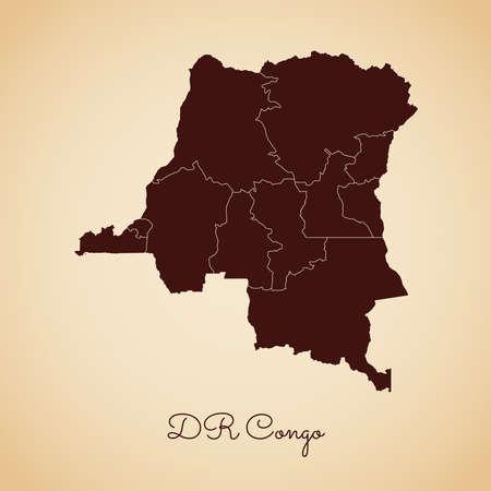 DR Congo region map: retro style brown outline on old paper background. Detailed map of DR Congo regions. Vector illustration. Vektoros illusztráció
