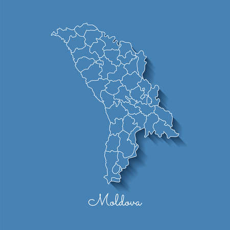 Moldova region map: blue with white outline and shadow on blue background. Detailed map of Moldova regions. Vector illustration. Stock Vector - 84276558