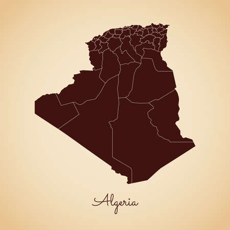 Algeria region map: retro style brown outline on old paper background. Detailed map of Algeria regions. Vector illustration.