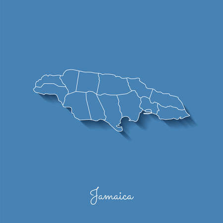 Jamaica region map: blue with white outline and shadow on blue background. Detailed map of Jamaica regions. Vector illustration. Illustration