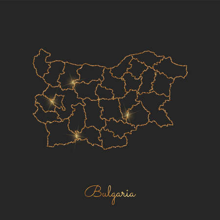Bulgaria region map: golden glitter outline with sparkling stars on dark background. Detailed map of Bulgaria regions. Vector illustration.