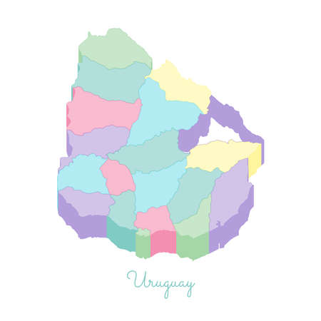 Uruguay region map: colorful isometric top view. Detailed map of Uruguay regions. Vector illustration.