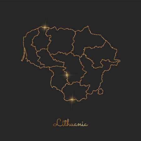Lithuania region map: golden glitter outline with sparkling stars on dark background. Detailed map of Lithuania regions. Vector illustration.
