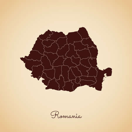 rom: Romania region map: retro style brown outline on old paper background. Detailed map of Romania regions. Vector illustration.