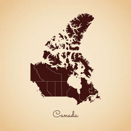 Canada region map: retro style brown outline on old paper background. Detailed map of Canada regions. Vector illustration. Illustration