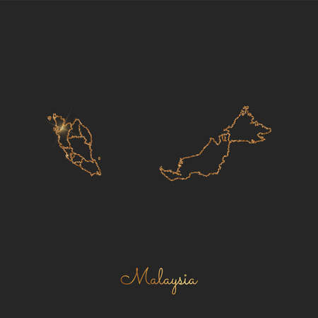 Malaysia region map: golden glitter outline with sparkling stars on dark background. Detailed map of Malaysia regions. Vector illustration.