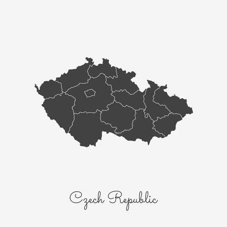 Czech Republic region map: grey outline on white background. Detailed map of Czech Republic regions. Vector illustration.