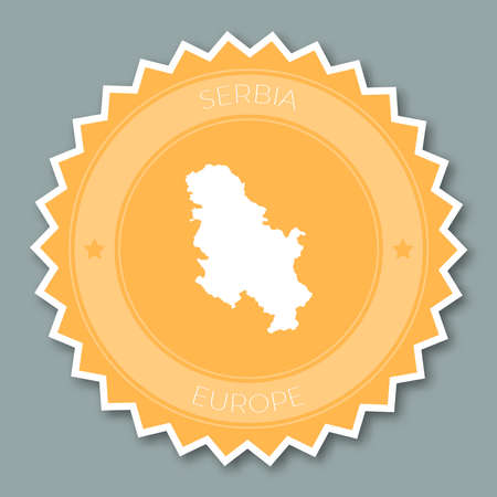 undefined: Serbia badge flat design. Round flat style sticker of trendy colors with country map and name. Country badge vector illustration.